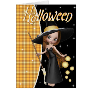 Cute Little Witch Halloween Greeting Card