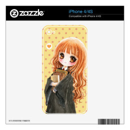 Cute little witch holding books iPhone 4 skins