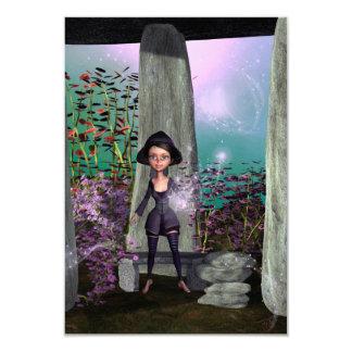 "Cute little witch 3.5"" x 5"" invitation card"