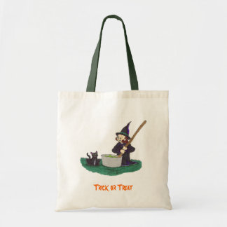 Cute little witch stirring her witches brew canvas bags