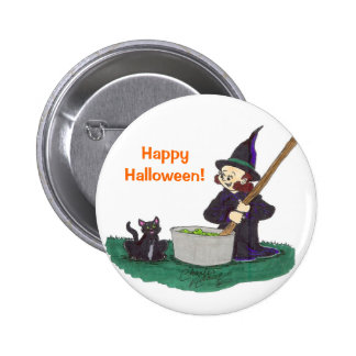 Cute little witch stirring her witches brew pinback buttons