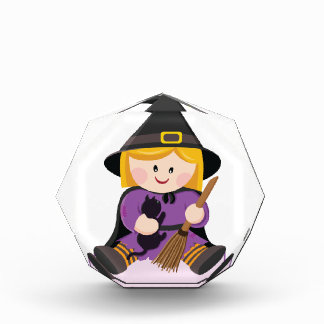 Cute little witch with blond hair acrylic award