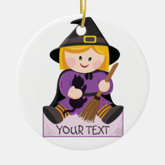 Cute little witch with blond hair ceramic ornament