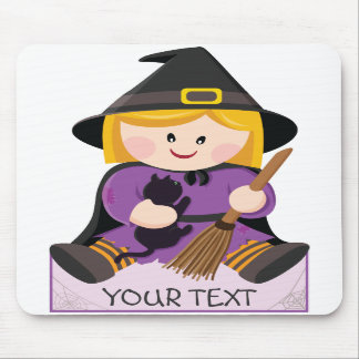 Cute little witch with blond hair mouse pad