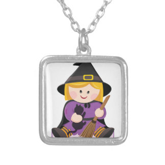 Cute little witch with blond hair silver plated necklace