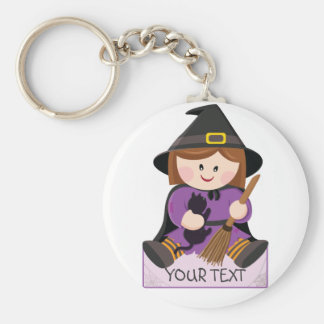 Cute little witch with broewn hair basic round button keychain