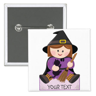 Cute little witch with broewn hair pinback buttons