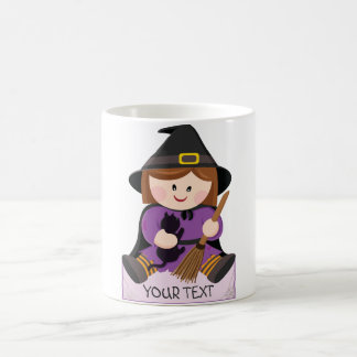 Cute little witch with broewn hair coffee mug