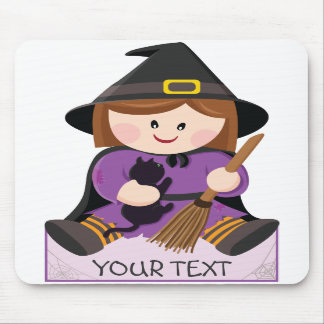 Cute little witch with broewn hair mousepad