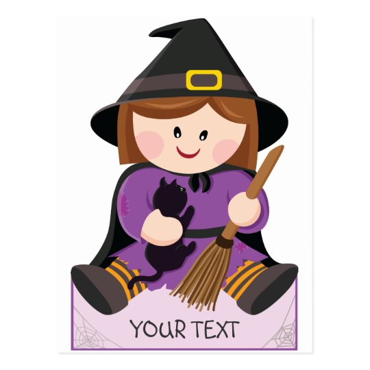 Cute little witch with broewn hair postcard