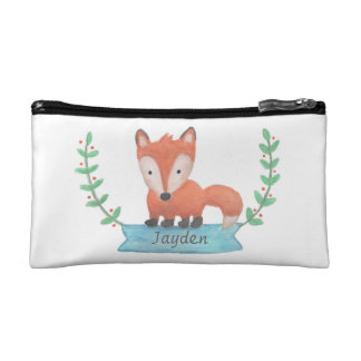 Cute Little Woodland Fox For Kids Cosmetic Bag