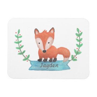 Cute Little Woodland Fox Personalized Kids Magnet