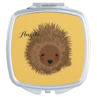 Cute Little Woodland Hedgehog Illustration Compact Mirrors