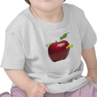 Cute Little Worms On Red Apple Tshirt
