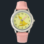 "Cute Little Yellow Cartoon Duck Wrist Watch<br><div class=""desc"">Cute Little Yellow Cartoon Duck Animal. This adorable little duckling has an orange beak and big feet. He is standing an looking up. A fun way to learn how to tell time for a child or any kid who loves farm animals or ducks. Several style options and colors. Note: Keep...</div>"
