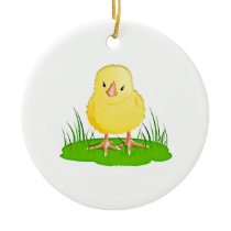 Cute Little Yellow Chicklette Ceramic Ornament