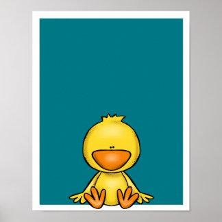 Cute little yellow duck baby nursery poster
