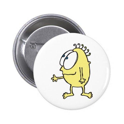 cute little yellow monster button