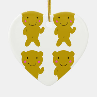 Cute little yellow Teddies on white Ceramic Ornament