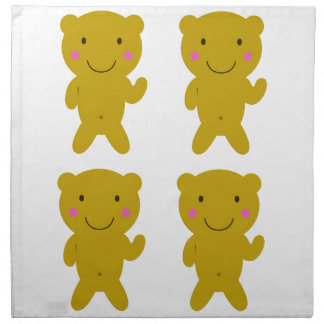 Cute little yellow Teddies on white Cloth Napkin