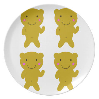 Cute little yellow Teddies on white Dinner Plate