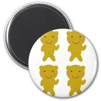 Cute little yellow Teddies on white Magnet