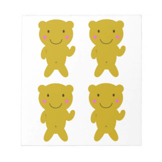 Cute little yellow Teddies on white Notepad