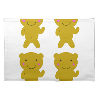 Cute little yellow Teddies on white Placemat