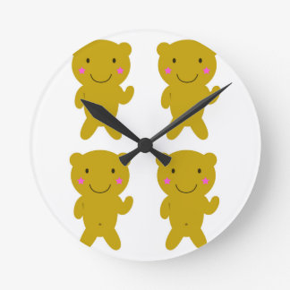 Cute little yellow Teddies on white Round Clock