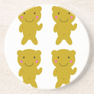 Cute little yellow Teddies on white Sandstone Coaster