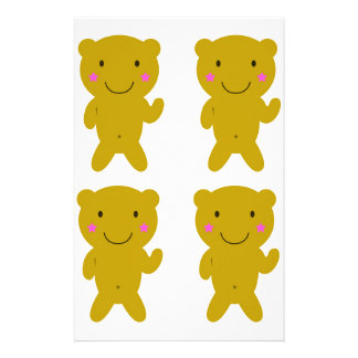 Cute little yellow Teddies on white Stationery