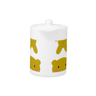 Cute little yellow Teddies on white Teapot