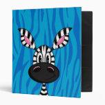Cute Little Zebra Blue Binder
