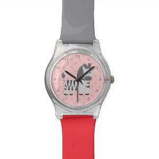 Cute little zebra with sweet pink hearts for girls wristwatch