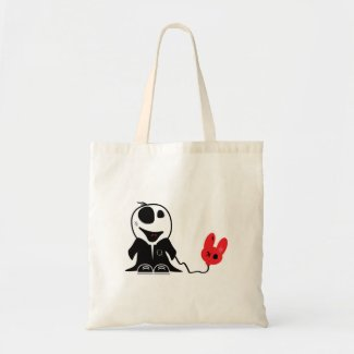 cute little zombie dude with dead balloon bag