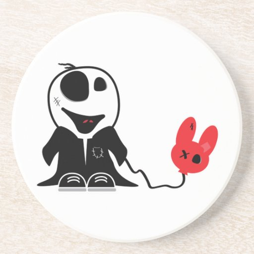 cute little zombie dude with dead balloon drink coasters