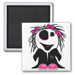 cute little zombie girly 2 inch square magnet