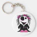 cute little zombie girly basic round button keychain
