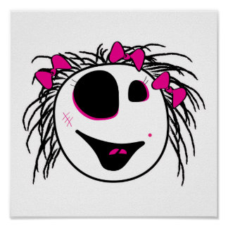 cute little zombie girly head poster