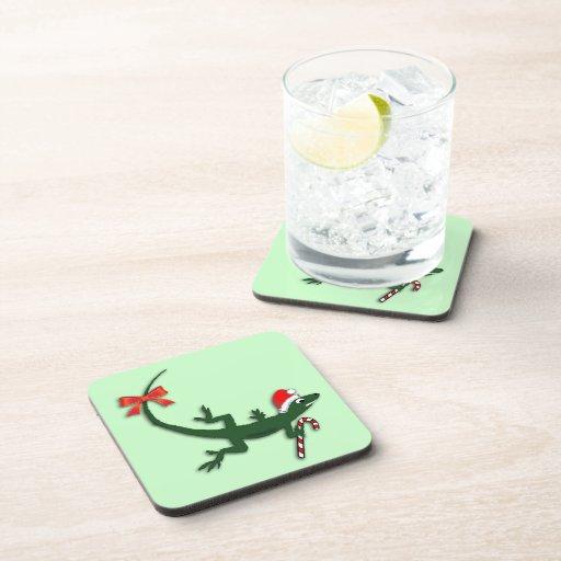 Cute Lizard Christmas Coasters Zazzle