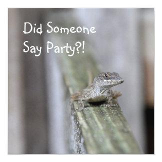 Cute Lizard Close Up 5.25x5.25 Square Paper Invitation Card