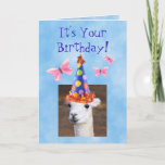 Cute Llama and Butterflies Birthday Card