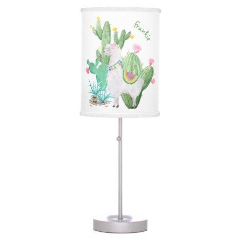 Cute Llama and Cactus Watercolor - Personalized Table Lamp
