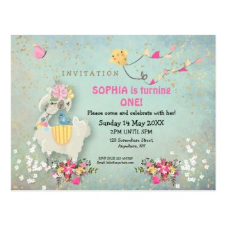 Cute Llama and florals First Birthday Invitation Postcard