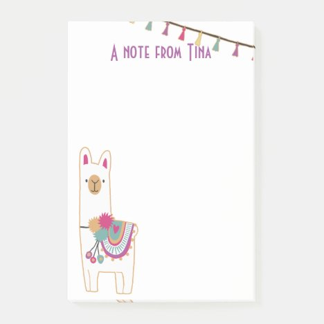 Cute llama and tassels design post-it notes