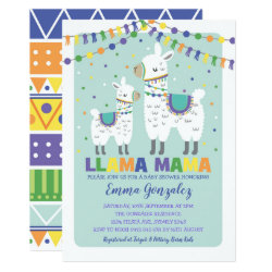 Cute Llama Baby Shower Alpaca Baby Boy Llama Mama Invitation