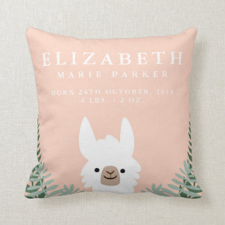 Cute Llama Birth Announcement Stats Nursery Pillow
