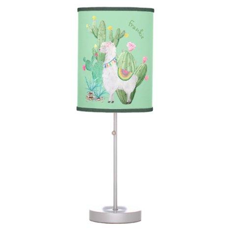 Cute Llama & Cactus Watercolor - Mint Green Custom Table Lamp