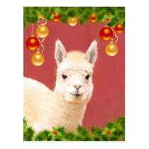 Cute Llama Christmas Holiday Postcard