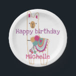 "Cute llama design with custom background color paper plate<br><div class=""desc"">The background color can be changed</div>"